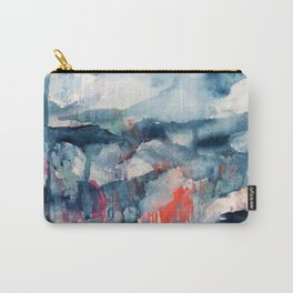 Before the Storm - an abstract acrylic and ink piece in blues, white, pink, and red Carry-All Pouch
