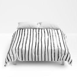Black Dry Brush Line Pattern (Vertical) Comforters