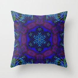 Bioluminescent Tribal Lotus Throw Pillow