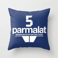 f1 Throw Pillows featuring Brabham F1 Racing Team BT49 by Krakenspirit