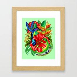 The Lizard, The Hummingbird and The Hibiscus Framed Art Print
