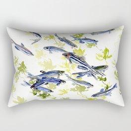 Fish Blue green fish design zebra fish, Danio aquarium Aquatic design underwater scene Rectangular Pillow