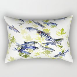 Fish Blue green fish design zebra fish, Danio aquarium Aquatic design underwater scene Rectangular Pillow