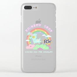 POW! Rainbow Goat Kicking Ass for Equality Clear iPhone Case