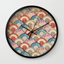 Vintage Japanese Papers: Graceful Half-Circle Pattern Wall Clock