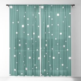 Squares and Vertical Stripes - Green and White - Hanging Sheer Curtain