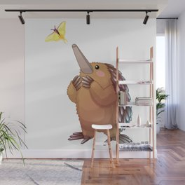 Cute echidna and butterfly. Vector graphic character Wall Mural