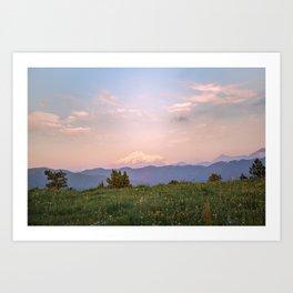 Sunset over top of Elbrus Art Print