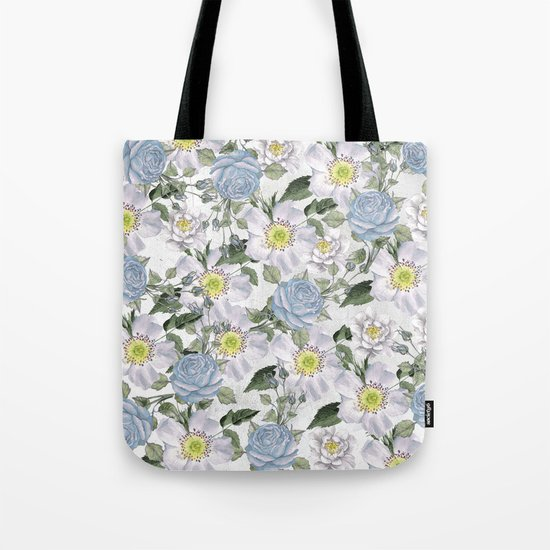 Vintage Roses Blue Tote Bag