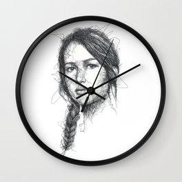 Katniss Everdeen Scribbles (Pen Art) Wall Clock