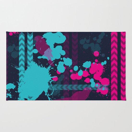 Pink Teal Pattern Rug By C Designz