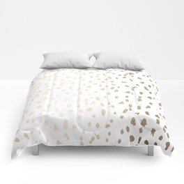 Luxe Gold Painted Polka Dot on White Comforters
