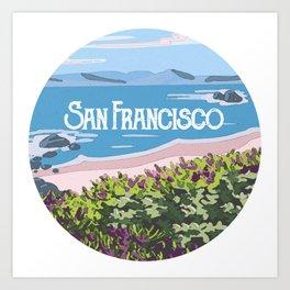 San Francisco, California Beach Succulents Illustration Art Print
