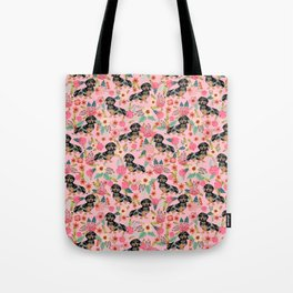Dapple Dachshund doxie lover floral must have gifts dachsie flowers Tote Bag