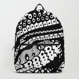 Free Hand Wavy Pattern Black and White Drawing Backpack