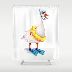 Snorkeling Goose Shower Curtain
