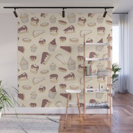 Chocolate Pastry Pattern Wall Mural