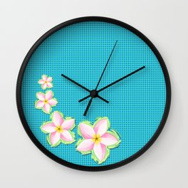 Pretty plumeria now with blue polka dots Wall Clock