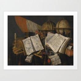 Edwaert Collier BREDA 1642 - 1708 LONDON,  VANITAS STILL LIFE WITH A CANDLESTICK, MUSICAL INSTRUMENT Art Print