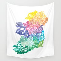 ireland Wall Tapestries featuring Typographic Ireland by CAPow!