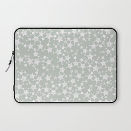 Block Printed Gray Green and White Stars Laptop Sleeve
