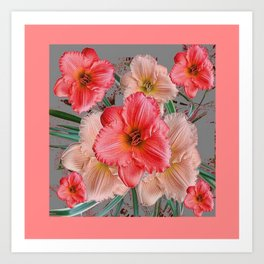 CORAL COLORED  PINK & CREAM DAYLILIES Art Print