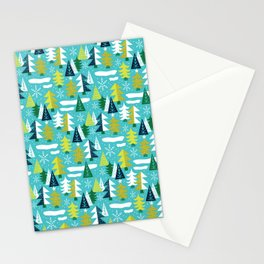 Trees - Xmas Pattern (Blue) Stationery Cards