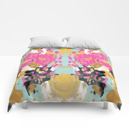 Laurel - Abstract painting in a free style with bold colors gold, navy, pink, blush, white, turquois Comforters