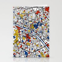 paris map Stationery Cards featuring Paris by Mondrian Maps