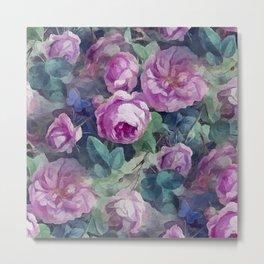 Floral pink roses pattern Metal Print