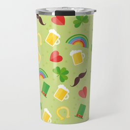 Irish, Saint Patricks day, Rainbow, mustache, Shamrock, ireland, irish gift, irish gifts women Travel Mug
