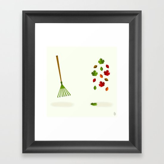 Rake & Leaves Framed Art Print