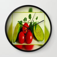 vegetables Wall Clocks featuring Juicy Vegetables by Art-Motiva