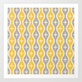 Mid century Modern Bulbous Star Pattern Yellow and Gray Art Print