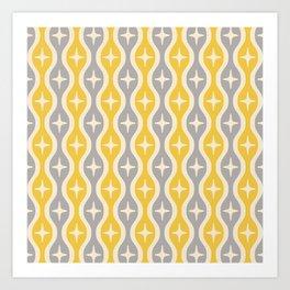Mid century Modern Bulbous Star Pattern Yellow and Gray Art Print
