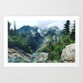 Mountain through the clouds Art Print