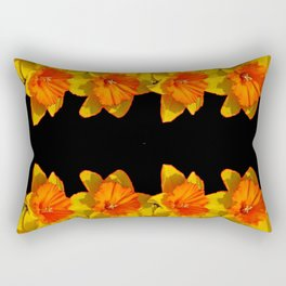 Ebony Black Night Golden Dafffodils Red Accents Rectangular Pillow