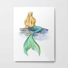 Mermaid Watercolor Metal Print