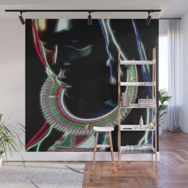Ebony sculpture of a woman with masai ornaments Wall Mural