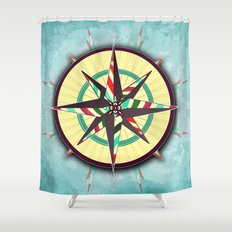 Striped Compass Rose Shower Curtain