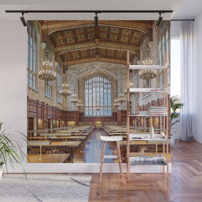 Antique Gothic Library Hall With Baroque Chandeliers Library Room Aesthetic Goals Wall Mural By Igalaxy