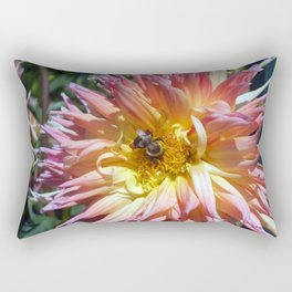 The Apricot Dahlia And The Bee Rectangular Pillow