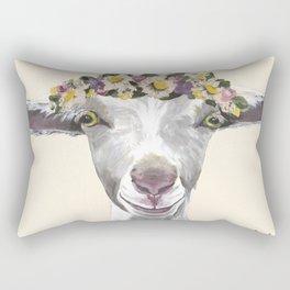 Goat Painting, Flower Crown Animal Rectangular Pillow