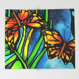 Beautiful Monarch Butterflies Fluttering Over Palm Fronds by annmariescreations Throw Blanket