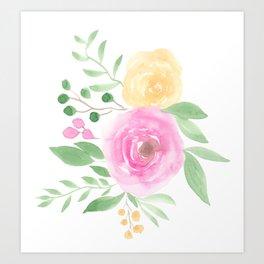 Summer pink yellow roses pattern floral loose watercolor Art Print