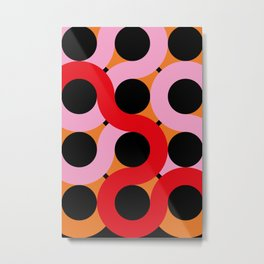 Black circles being surrounded by red and pink curves. All happening in an orange landscape. Metal Print
