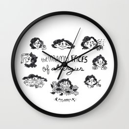 The many faces of allergies Wall Clock