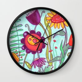 Wild Flowers by Jenny Elkins Wall Clock