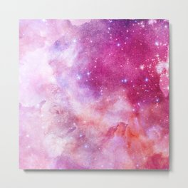 Blush Pink and Ultra Violet Celestial Galaxy Metal Print