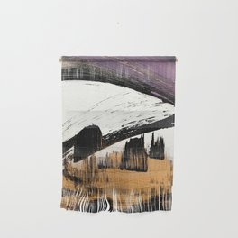 Axis [1]: a bold, minimal abstract in gold, purple, blue, black and white Wall Hanging